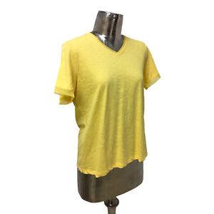 Olsen Top T-Shirt Organic Cotton Yellow UK L 16 (EU 44) NEW Women's RRP £35