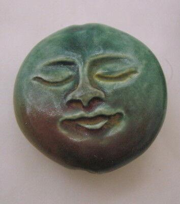From PERU - RAKU - FULL MOON FACE - Double-sided Ceramic Bead 23mm diameter