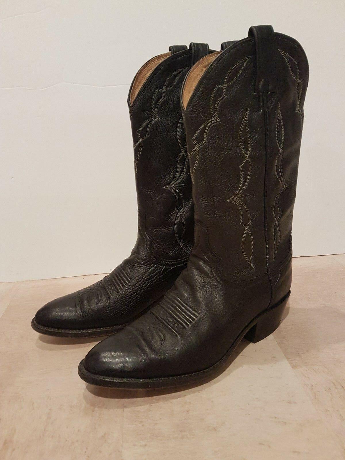 Vintage schwarz Leder Dan Post cowboy / cowgirl / / / western Stiefel UK Größe 8 a7c711