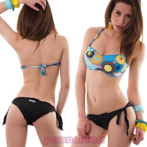 Bikini donna costume da bagno mare fascia optical due pezzi nuovo SE437
