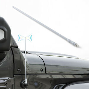 White AM FM Radio Antenna For Jeep Wrangler JL JK JT Sahara Rubicon Unlimited