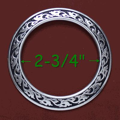 "2-3/4"" ID Jeremiah Watt Breast Collar Ring - Black Inlay"