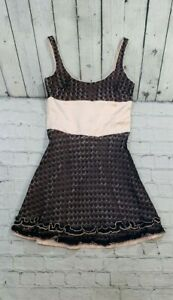 BEBE-Crochet-Black-Peach-Round-Neck-Dress-WOMEN-039-S-SIZE-XS