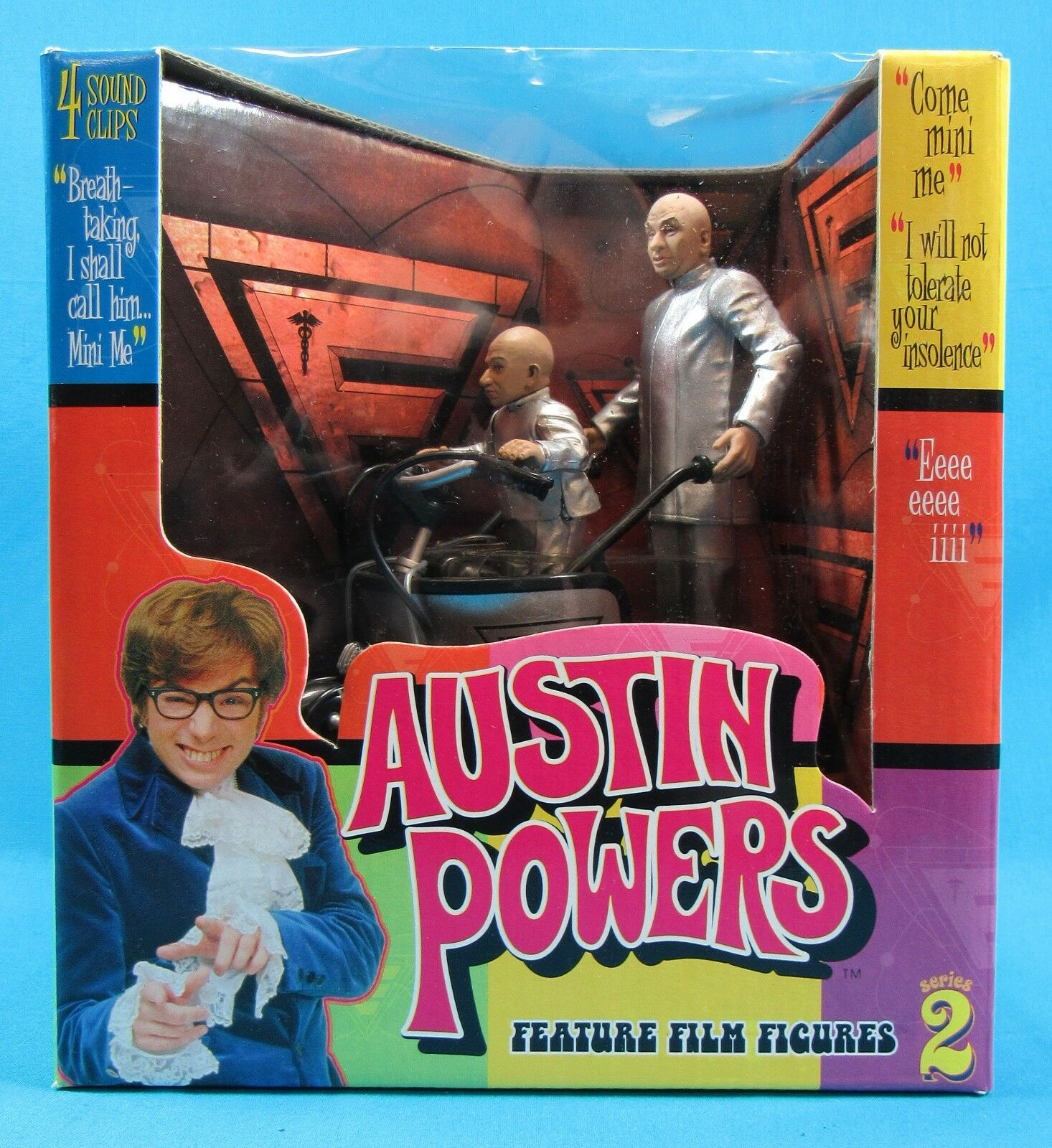 Austin Powers Dr. Evil and Mini Me with the Mini Me Mobile 1999 Sealed in Box