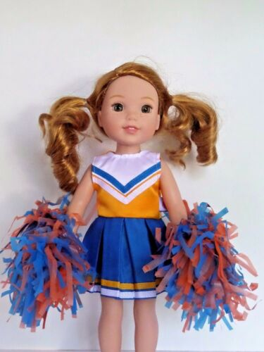 """Blue and Orange Cheer Outfit Fits Wellie Wishers 14.5/"""" American Girl Clothes"""