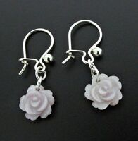 Silver Earrings With Mauve Mother Of Pearl Carved Roses