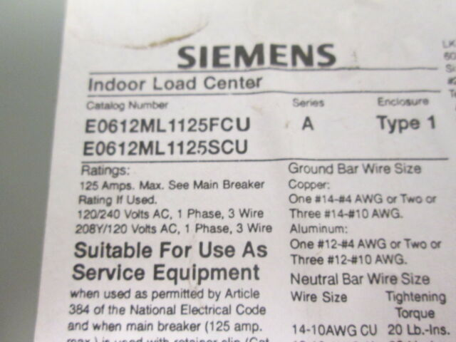Siemens Indoor Enclosure Single Phase Main Lug Indoor Load Center ...