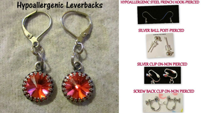 7cdb23928 Handmade Using Swarovski Earrings-Padparadscha 10mm Crystal-Hypoallergenic