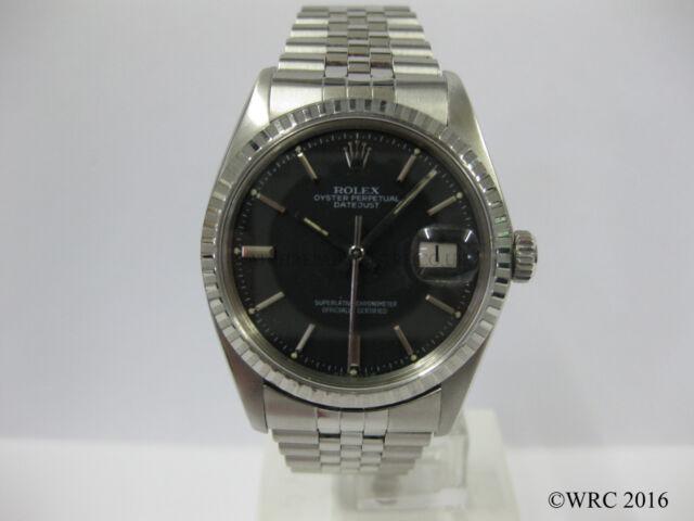 Gents Rolex Datejust Stainless Steel Jubilee Bracelet Black Dial 1603 #979
