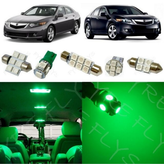 14x Green LED Lights Interior Package Kit For 2009-2014