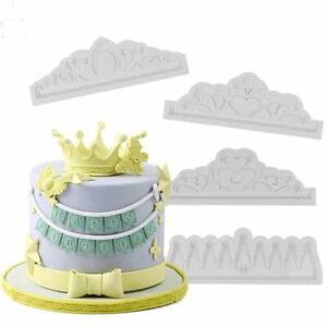 Silicone Lace Crown Mould Cake Mold Fondant Chocolate Baking Tool Topper Heart