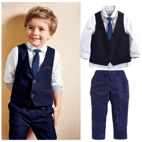 UK Fashion Toddler Kid Boy Tops Waistcoat Pants Formal Suit Outfit 4Pcs Set 1-7Y