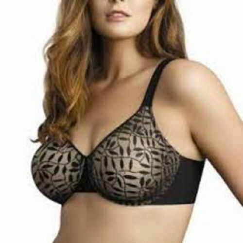 b3fc8b8bc017a Buy Olga 35519 Lace Sheer Leaves Underwire Minimizer Bra 40 D Black french  Toast 40d online