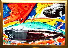 JAGUAR E-Type UNIKAT Acrylbild-Collage 100 x 70 cm, Auto-Zyklus Max Stern *1968