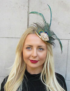 Green Peacock Statement Feather Fascinator Pillbox Races Hat Ascot Clip 2298