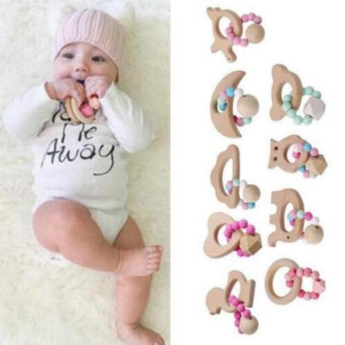 Lovely Wooden Natural Crochet Baby Infant Teether Teething Ring Bracelet Toys L