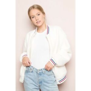 8cbf9fe9c Details about Brandy Melville White SUPER SOFT fur Red Blue Striped Clare  bomber jacket Zip Up