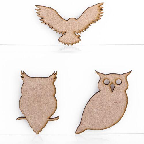 Wooden MDF Owls Halloween Bird Craft Shape Sign Blank 3mm Thick Blank