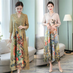 Chinese-Style-Peacock-V-Neck-Women-039-s-Long-Loose-Gown-Shift-Dress-S-4XL
