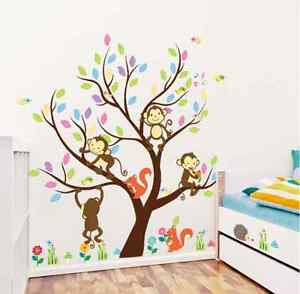 Details About Monkey Animals Tree Mural Wall Decal Vinyl Stickers Nursery Decor Kids Gift Uk