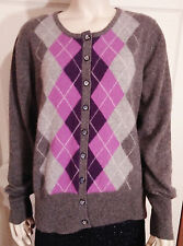 Apt. 9 Gray & Purple Plaids 100% Cashmere Cardigan Long Sleeves Sweater XL