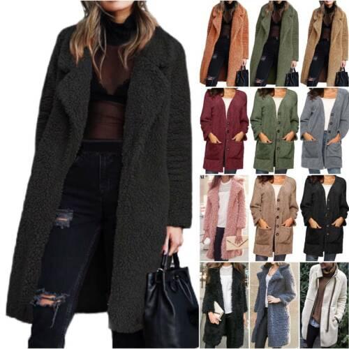 Womens Teddy Bear Long Jacket Fluffy Trench Coat Winter Warm Overcoat Outwear
