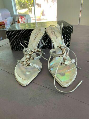 El Dantes Paleta silver ankle wrap high sandals si