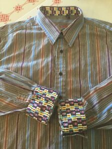 Robert-Graham-Mens-Size-XL-Gray-Purple-Blue-Striped-Button-Up-Shirt-Flip-Cuffs