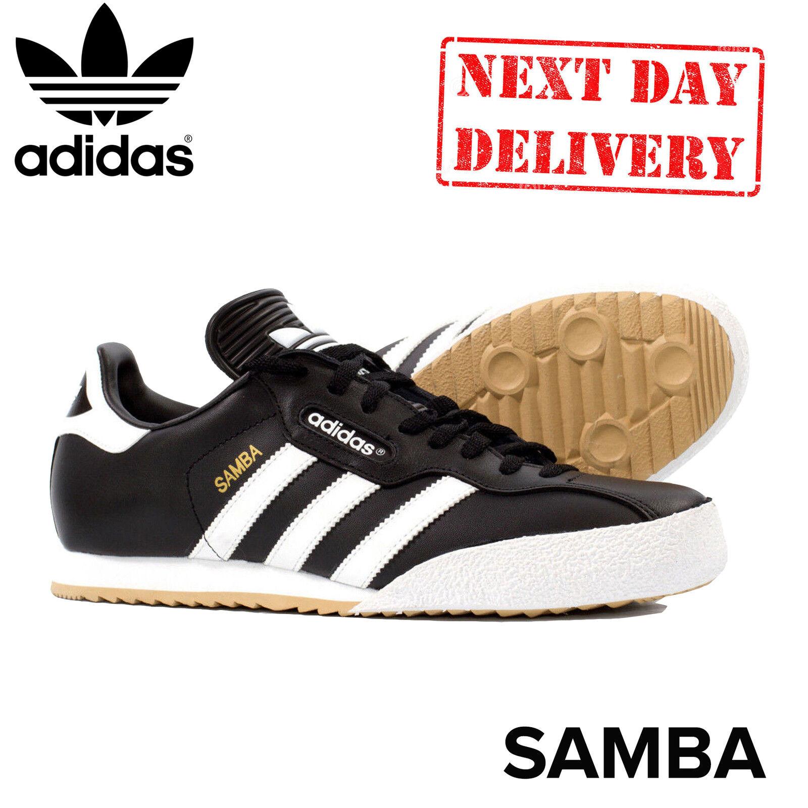 Adidas samba super cuoio Uomo bianco nero merletto di unito football indoor formatori, regno unito di 9d0be2