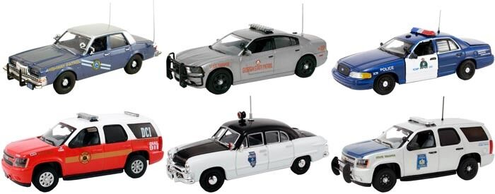 SET OF 6 POLICE CARS RELEASE #3 1/43 BY FIRST RESPONSE REPLICAS FR-43-R03