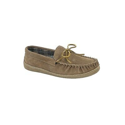 Sleepers ADIE Mens Leather Suede Moccasin Casual Comfy Slippers Sand Beige Brown