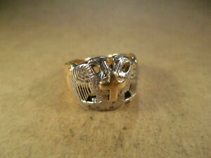 Vtg-14K-Gold-amp-Palladium-Double-Eagles-Cross-Ring-Wear-Scrap-Size-8-5-13-3g