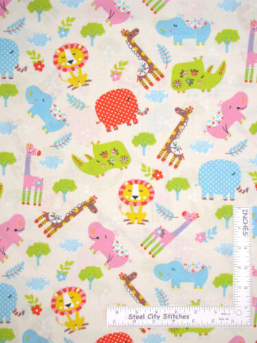 Yard Animal Toss Giraffe Hippo Elephant Lion Baby Cotton Fabric Santee Novelty