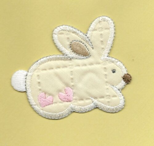 Beige Rabbit with Hearts Embroidered Iron On Applique  Patch 153567