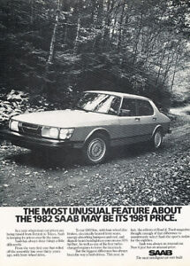 1982 Saab APC Turbo 900 2-sided Classic Advertisement Car Print Ad D01