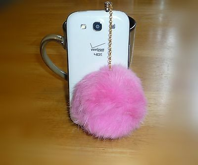 Pink Fur Ball Crystal 3.5mm Anti Dust Ear Plug Charm for iPhone 4S 5 Samsung