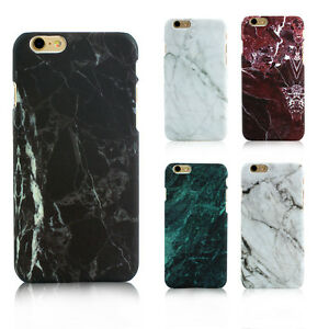 Glossy-Hard-Back-Granite-Marble-Effect-Case-Cover-For-Apple-iPhone-5-6-6s-7-Plus