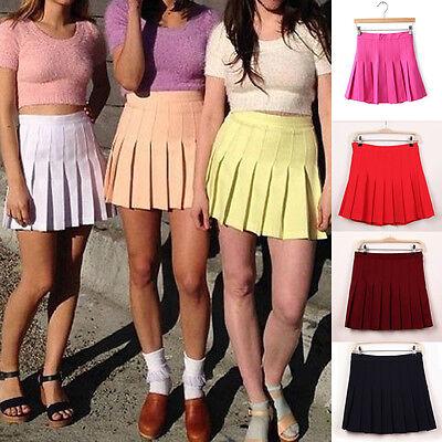Women High Waist Tennis Skater Flared Pleated Playful Short Mini Skirt Plus Size