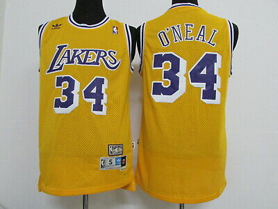 New Los Angeles Lakers #34 Shaquille O'Neal Retro Basketball Jersey Yellow | eBay