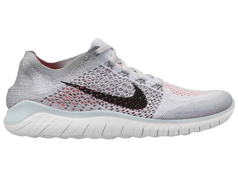NEW MENS NIKE FREE RN (RUN) FLYKNIT 2018 RUNNING SHOES TRAINERS PURE PLATINUM