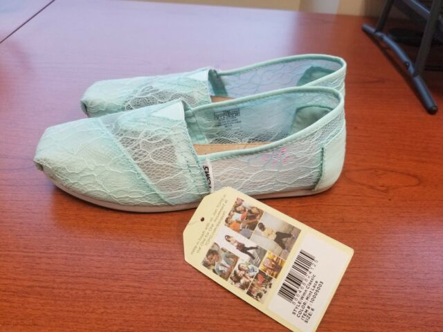 2697520098a New WOMEN S TOMS GREEN CLASSIC LACE SHOES ESPADRILLES Size 6 - Wedding Shoes !