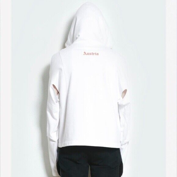 NWT Helmut Lang Mens White Austria Cut Out Side Hoodie Shayne Oliver XXL