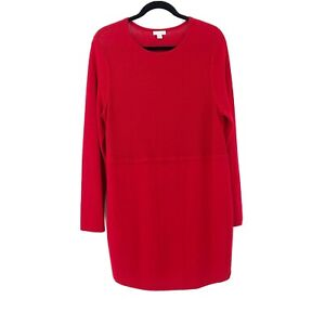J-Jill-Size-Medium-Red-Tunic-Holiday-Womens-Top-Long-Sleeve-Rayon-Scoop-Neck