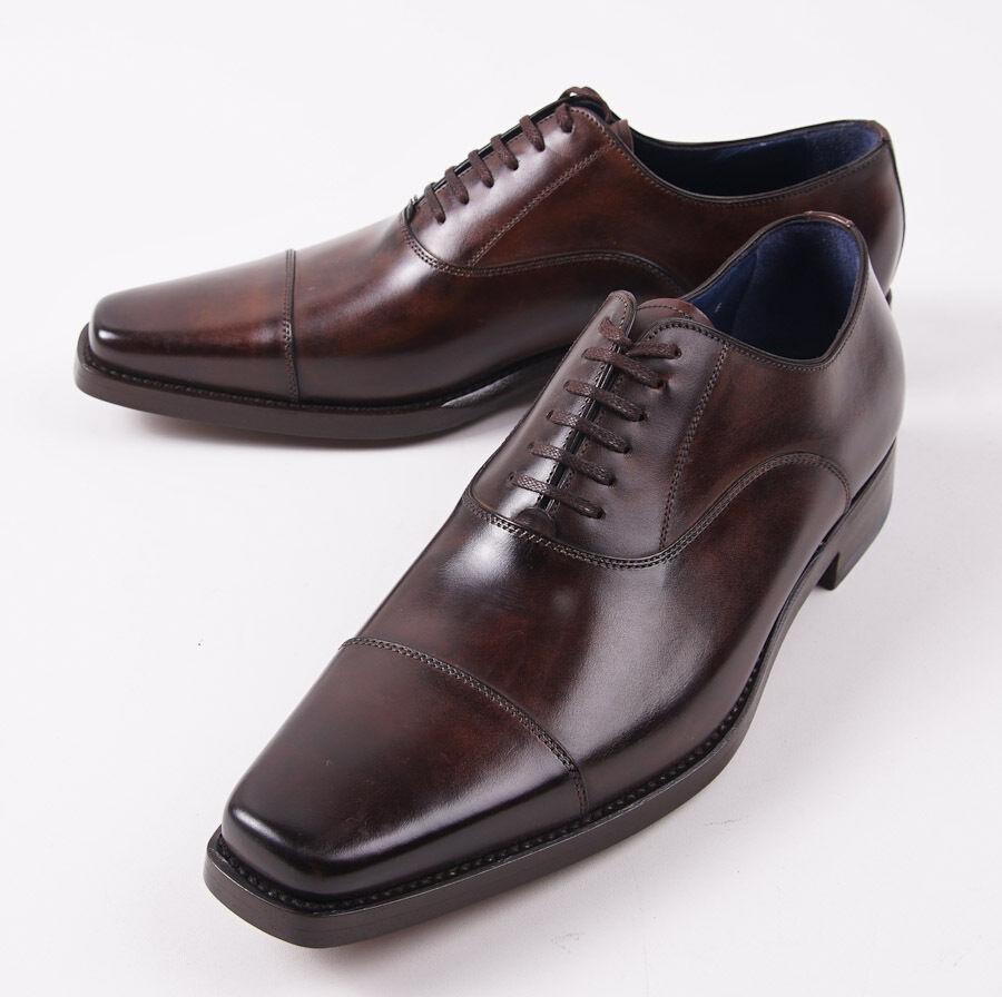 NIB  960 SANTONI Fatte a Mano Antiqued Dark Brown Captoe Balmoral US 8 D shoes