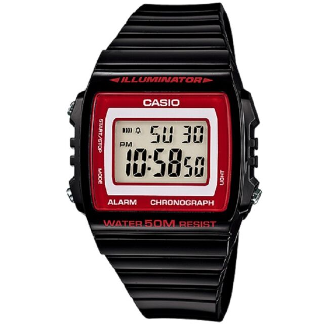 Casio W-215H-1A2V Red Black Classic Digital Watch with Box Included