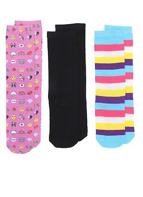 Emoji Unicorn Girls Knee High Socks Medium 7.5-3.5 Stripes Metallic 3 Pairs