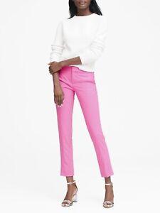 Banana-Republic-Women-039-s-6-Long-Ryan-Pant-Tickle-Me-Pink-Straight-Leg-Wool-GUC