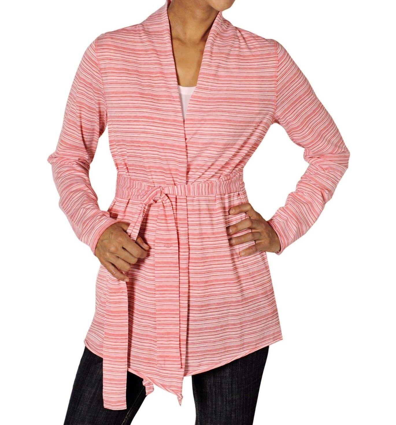 Exofficio Women's L - NWT - Pink Striped Long Sleeve Waist Tie Wrap Cardigan