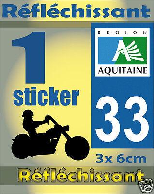 1 Sticker REFLECHISSANT département 33 rétro-réfléchissant immatriculation MOTO