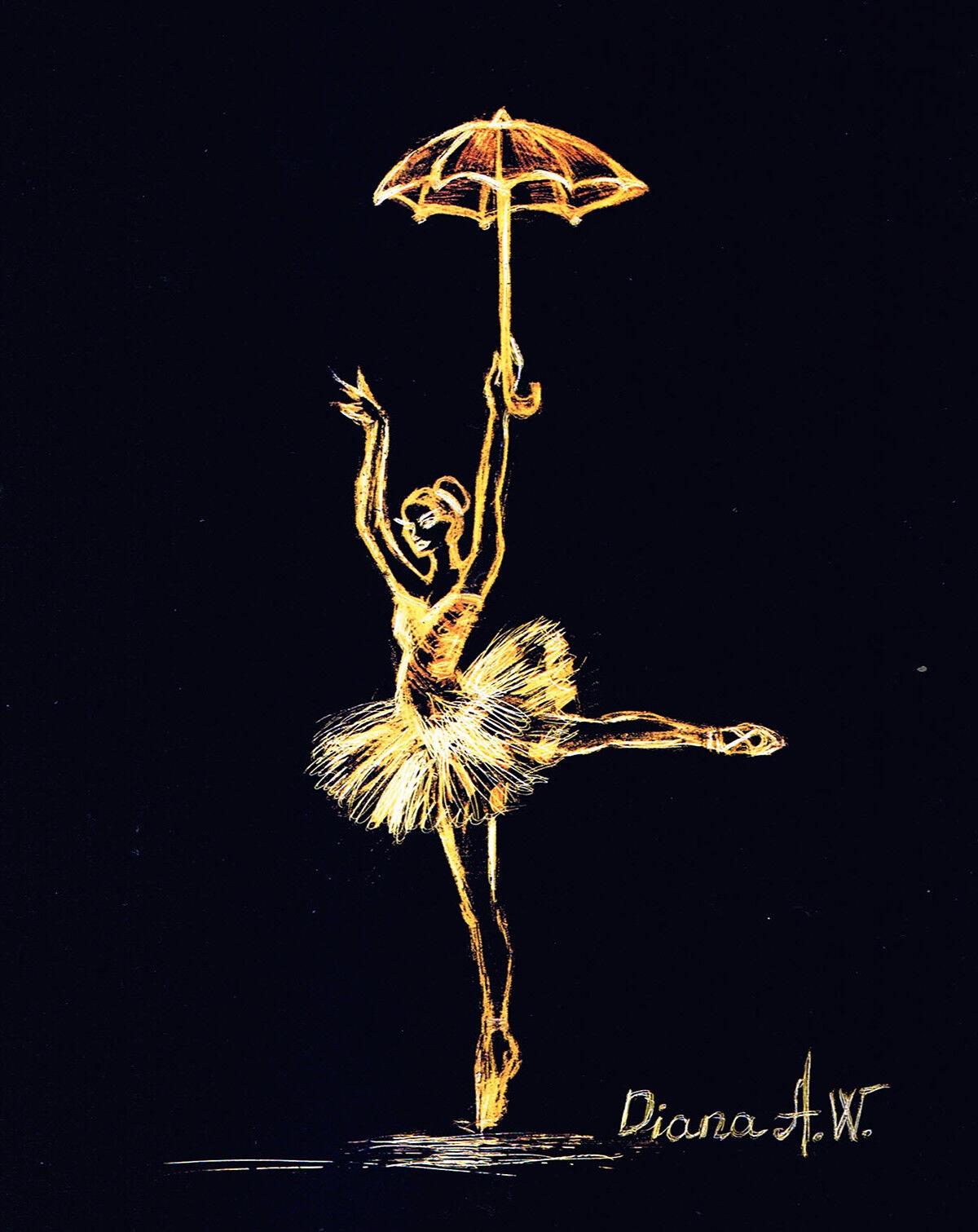 Dancing Ballerina Avec Ballerine, Parapluie, peinture originale/dessin Ballerine, Avec 12-15 cm d5dd85